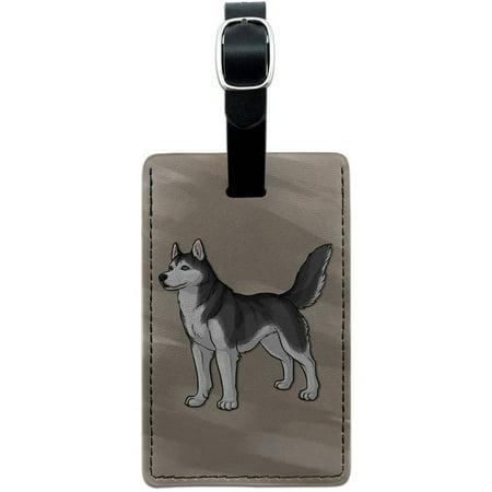 Siberian Husky Pet Dog Leather Luggage ID Tag Suitcase Carry-On ()