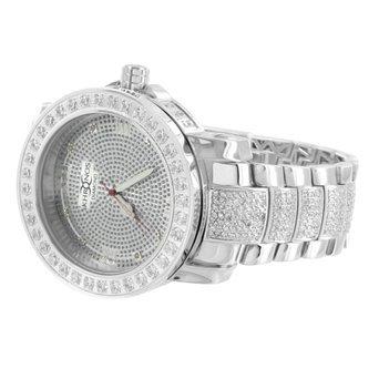 White Mens Diamond Watch Fully Iced Out Cubic Zircon 1 Row Bezel Analog
