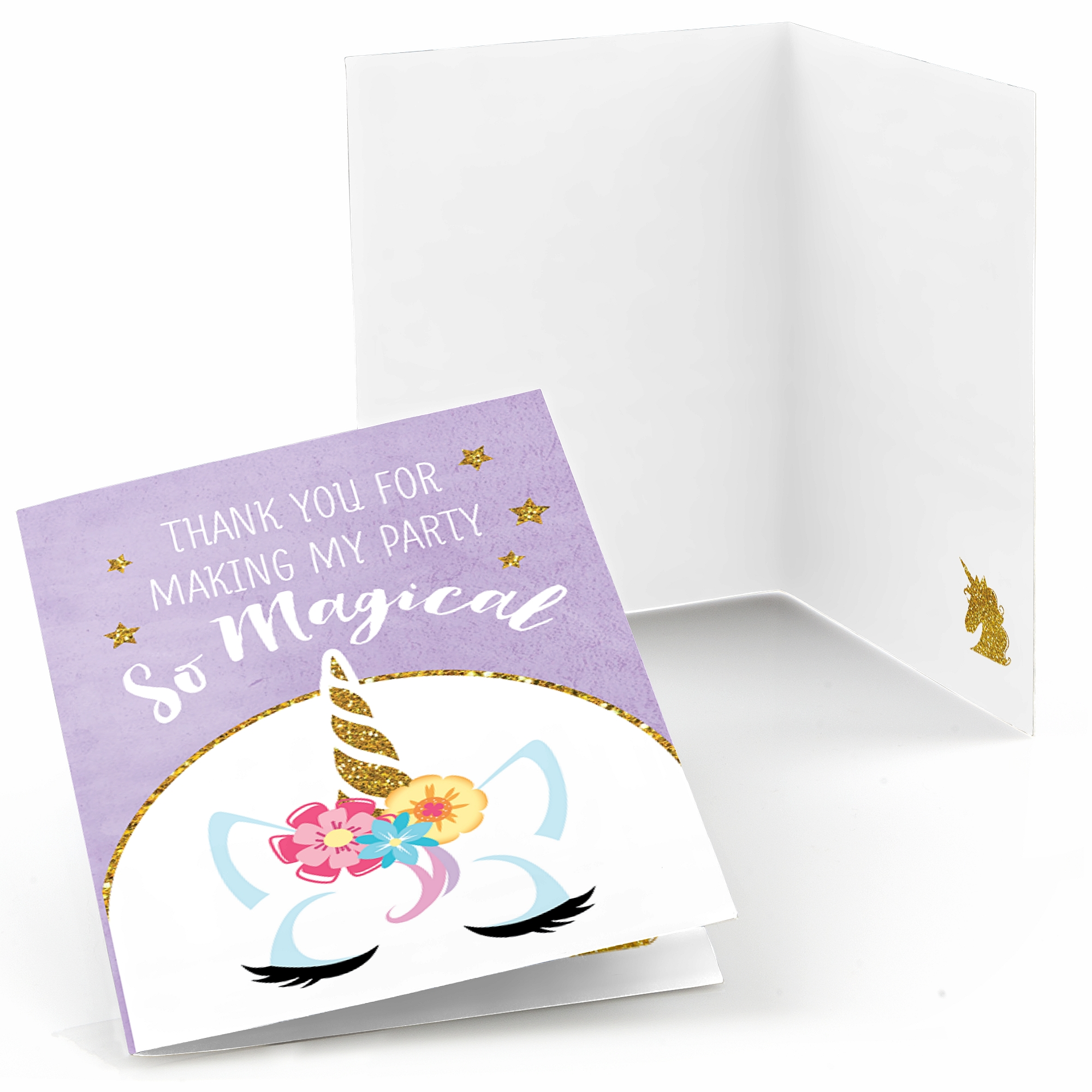Rainbow Unicorn - Magical Unicorn Baby Shower or Birthday Party Thank You Cards (8 count)