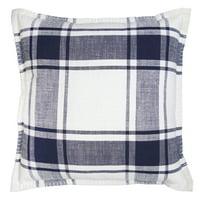 "Better Homes & Gardens Reversible Plaid Decorative Pillow, 20"" x 20"", Navy"