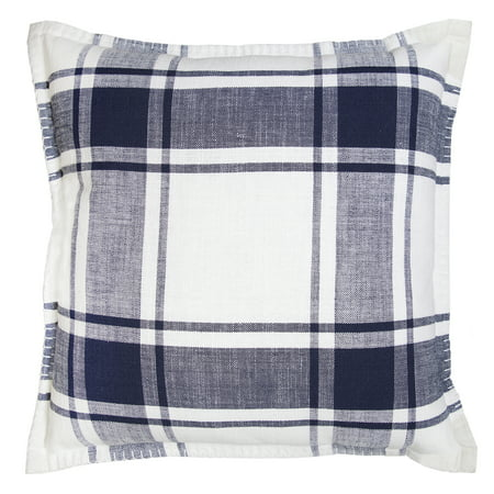 Better Homes and Gardens, Navy Reversible Plaid Pillow ()
