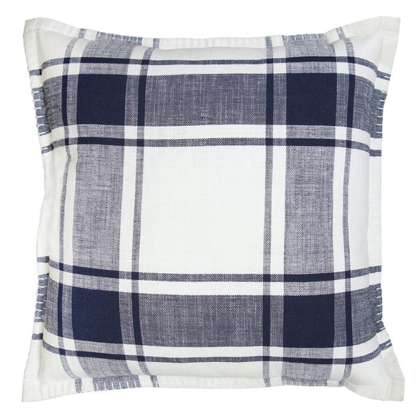 "Better Homes & Gardens Reversible Plaid Decorative Pillow, 20"" x 20"", Navy"