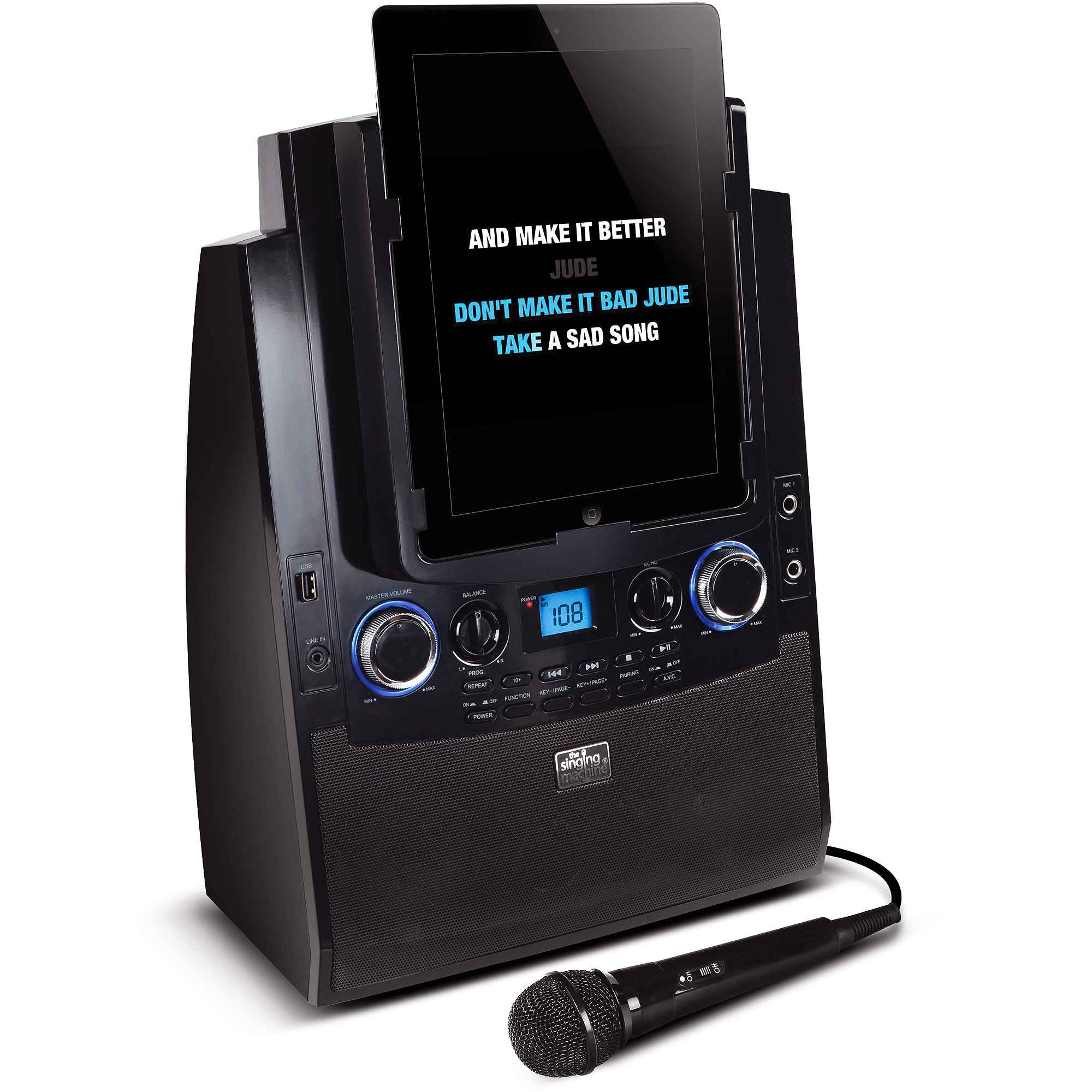 Singing Machine Bluetooth Mobile Karaoke System with Resting Tablet Cradle, Microphone, and Free Karaoke App