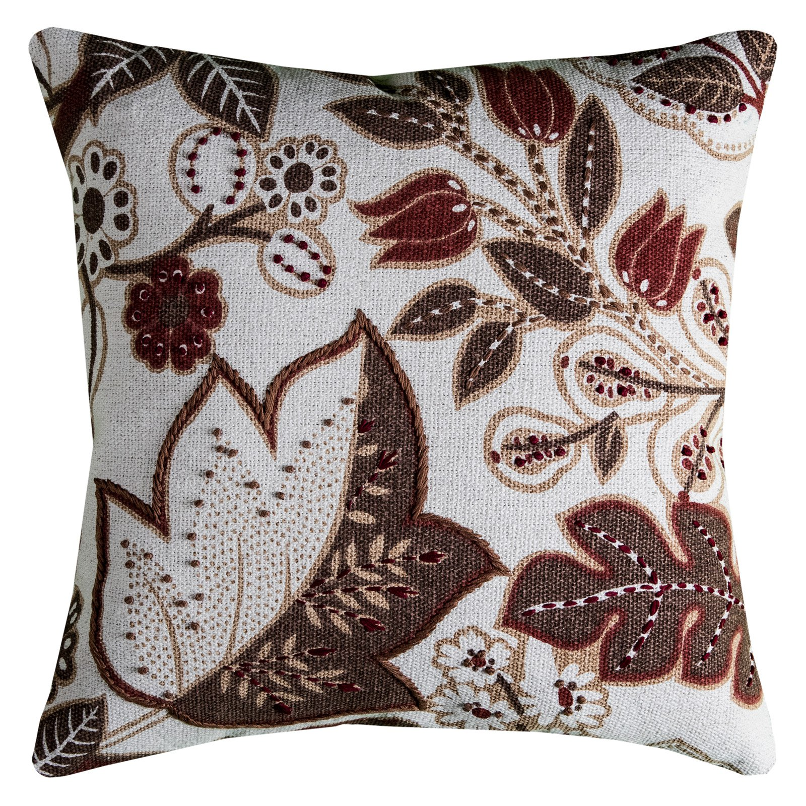 """Rizzy Home Decorative Poly Filled Throw Pillow Floral 20""""X20"""" Brown"""