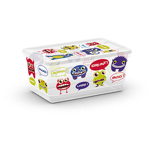 KIS UrBin Extra-Small Boys Monsters Decorative Storage With Snap Lids, Set of 6