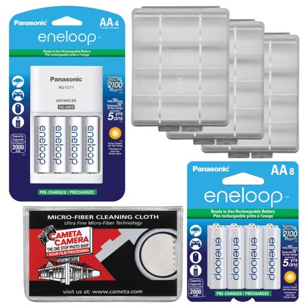 Panasonic eneloop (8) AA 2000mAh Pre-Charged NiMH Rechargeable Batteries & Charger with 2 AA Battery Case Kit for Digital Cameras and