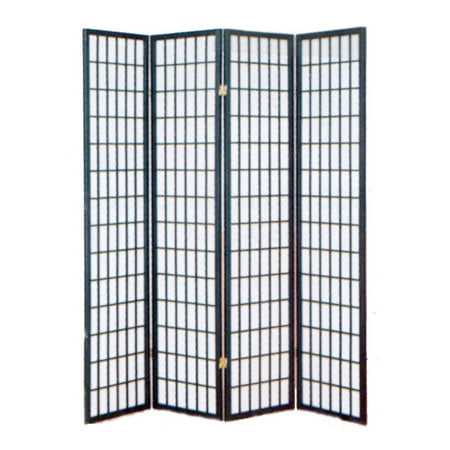 4 panel shoji room divider screen w black frame for Four panel room divider screen