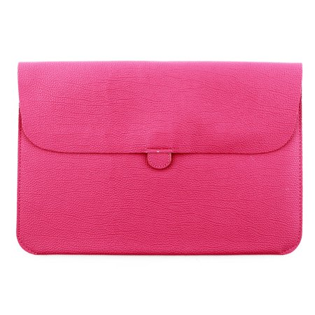 Unique Bargains PU Leather Water Resistant Pouch Laptop Sleeve Magenta for MacBook 12 11.6 Inch - Leather Boot Covers