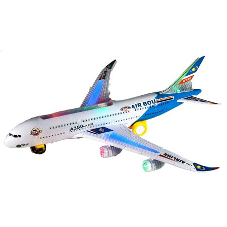 Toy Airplane With Colorful Flashing LED Lights And Sound.( RED or BLUE ) Drives itself with bump and go