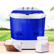 Ktaxon 10LBs Mini Twin Tub Washing Machine, Portable Washer Spin DryerWhite & Blue