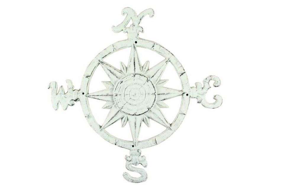 "Rustic Whitewashed Cast Iron Large Compass 19"" Marine Compass Nautical Home Decor by Hampton Nautical"