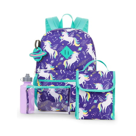 Wonder Nation 5 Piece Girls Backpack Set
