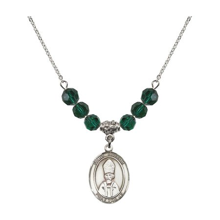 18-Inch Rhodium Plated Necklace with 6mm Green May Birth Month Stone Beads and Saint Anselm of Canterbury Charm
