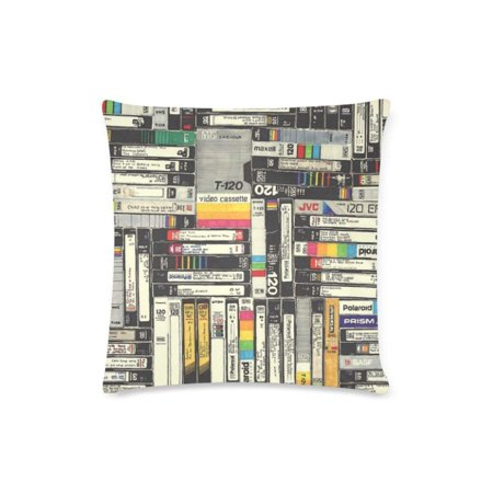 ARTJIA Vhs Wai Deisign Cushion Cases Pillow Cover Two Sides Printing 16x16 Inches](Halloween Vhs Cover)