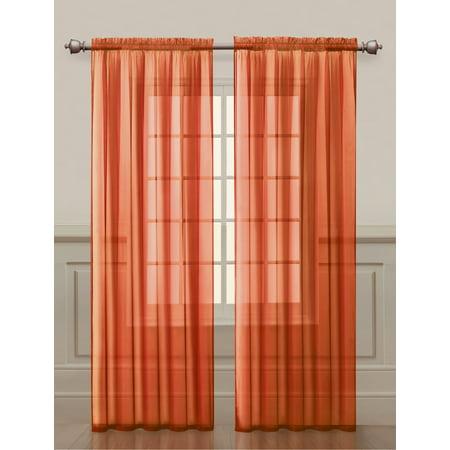 Two 2 Orange Sheer Rod Pocket Window Curtain Panels 108 W X 84 L Fully Hemmed