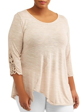 1873b7e0cff Product Image Women s Plus Size Elbow Sleeve Tunic Top With Crochet