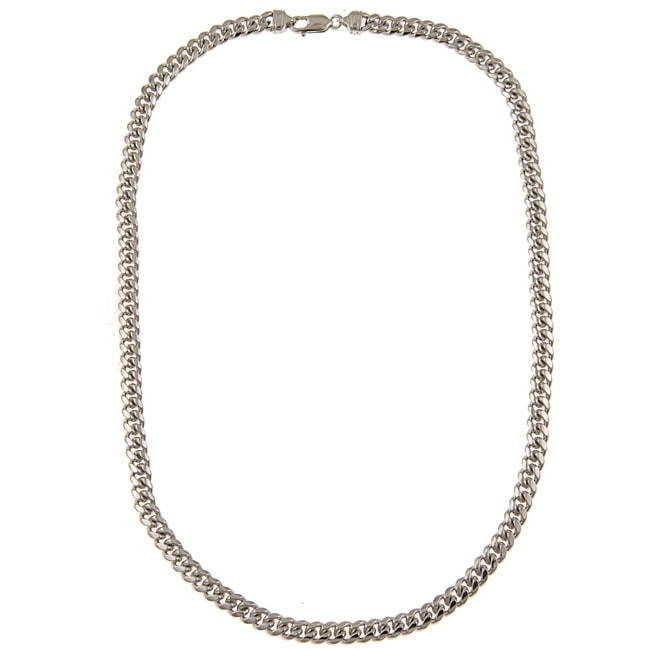 Platifina Platinum over Silver 24-inch Cuban Link Chain Necklace by Overstock