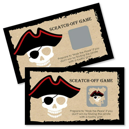 Beware of Pirates - Pirate Birthday & Halloween Party Game Scratch Off Cards - 22 Count - Charlie Brown Halloween Birthday Party
