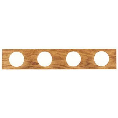 66443 4 Light Bath Bar - Solid Oak With Polished Brass Finish