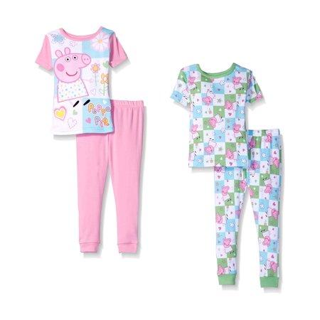 Peppa Pig Toddler Girls' 4pc Cotton Pajama Set, Pink, Size: 2T Cotton Pink Pigs