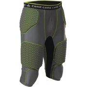 Alleson Athletic Men's Integrated 7 Padded Football Girdle XXXX-Large Charcoal/Lime