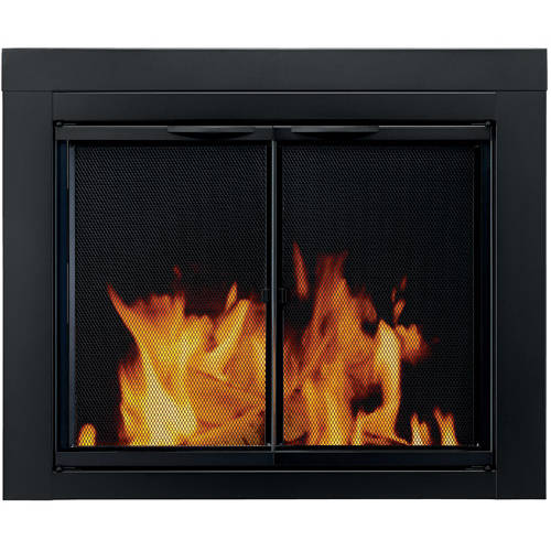 Pleasant Hearth Cabinet Style Fireplace Glass Door, Astor Black, AS-1010
