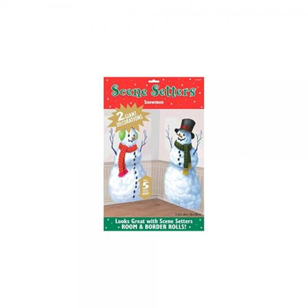 amscan winter wonderland christmas snowmen scene setters add-ons party decorations, multicolor, 65