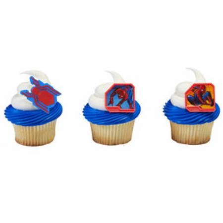 24 Spiderman Spider Man Homecoming Cupcake Cake Rings Birthday Party Favors Toppers