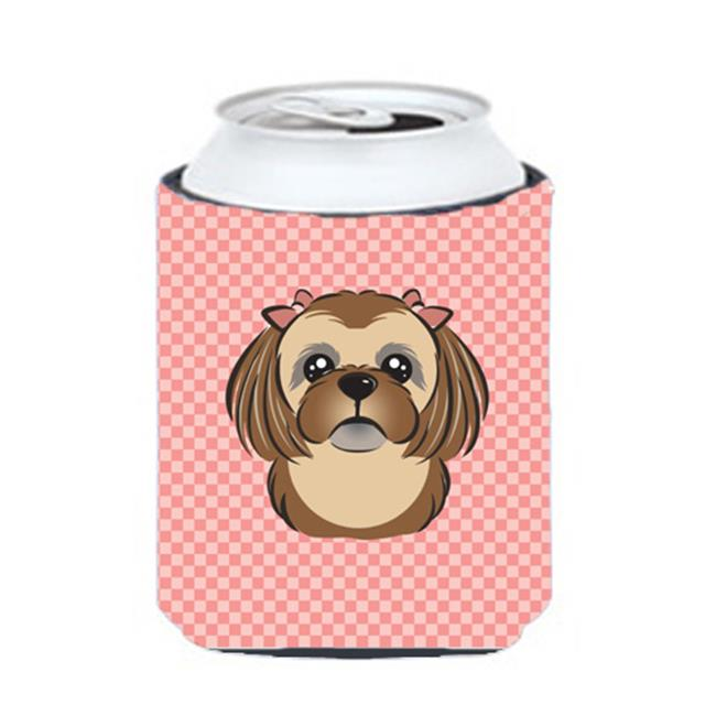 Carolines Treasures BB1249CC Checkerboard Pink Chocolate Brown Shih Tzu Can Or Bottle Hugger, 12 Oz. - image 1 de 1