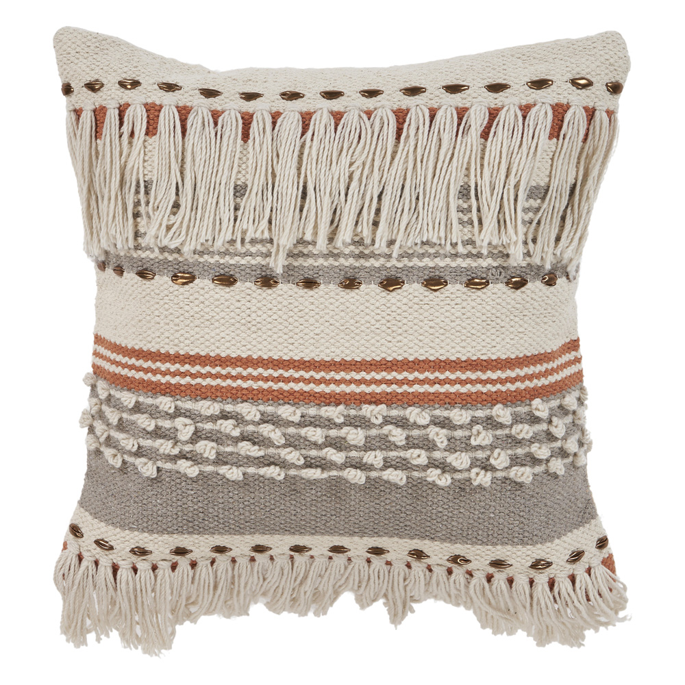 """LR Home Fringe Striped Chic Natural Gray Throw Pillow ( 18"""" x 18"""" )"""