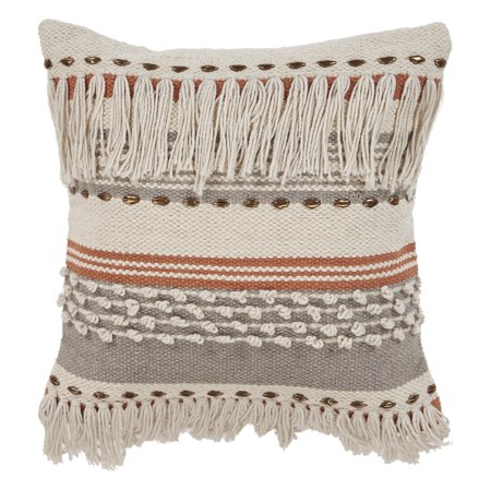 Lace Fringe Pillow (LR Home Fringe Striped Chic Natural Gray Throw Pillow ( 18