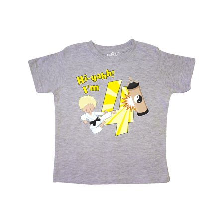Hi-Yahh! I'm Four Karate Student Fourth Birthday Toddler T-Shirt](Naughty Student Outfit)
