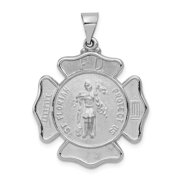 14K White Gold Charm Pendant 29 mm 26 Polished And Satin St. Florian Badge Medal Penant