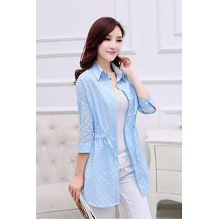 Women Casual Waist Fastening Top Shirt and Blouse Blue