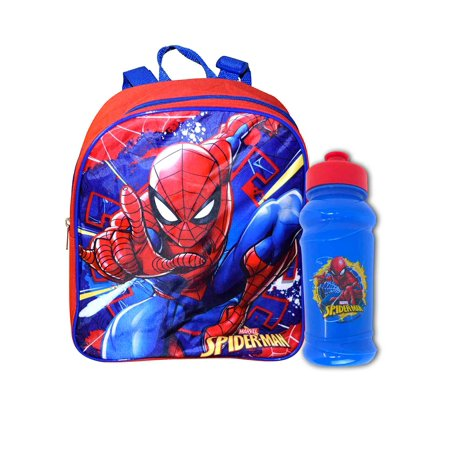 "Boys Mini Spider-Man Backpack 12"" & Pull-Top Water Bottle Toddler Set"