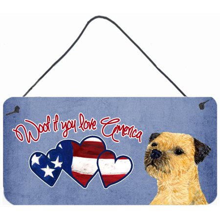 Caroline's Treasures Woof if you love America Border Terrier by Suzanne Staines Painting Print Plaque