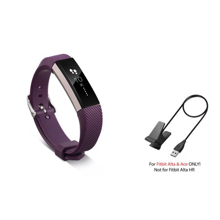Fitbit Alta / Ace Band by Zodaca Replacement Band Wrist Band and Fitbit Alta / Ace Charger Cable Charging Cord Accessory Bundle for Fitbit Alta / Ace - Purple