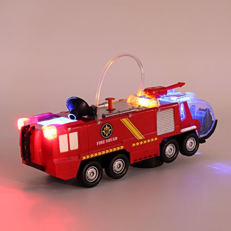 2 Types Firefighters Fire Engines Electric Universal Toy Car Can Water Sprey with Music Colorful Lights - image 7 de 8