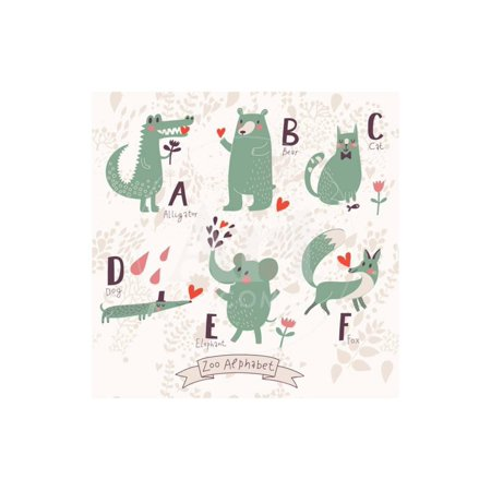 Cute Zoo Alphabet in Vector. A, B, C, D, E, F Letters. Funny Animals in Love. Alligator, Bear, Cat, Print Wall Art By (Love Letter Art)