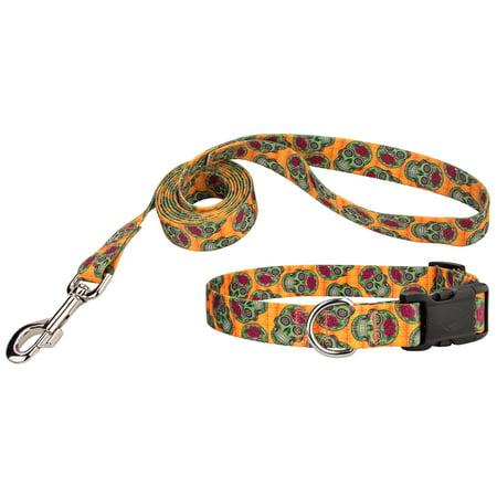 Country Brook Design® Sugar Skulls Deluxe Dog Collar & Leash - Dog Sugar Skull