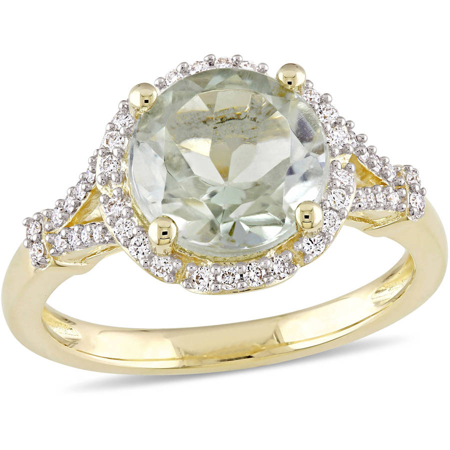 Tangelo 2-4 5 Carat T.G.W. Green Amethyst and 1 5 Carat T.W. Diamond 14kt Yellow Gold Halo Ring by Tangelo