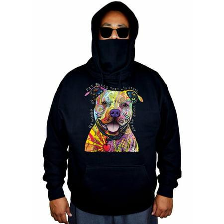 Men's Neon Beware pitbull Steal Your Heart Black Mask Hoodie Sweater 5X-Large Black