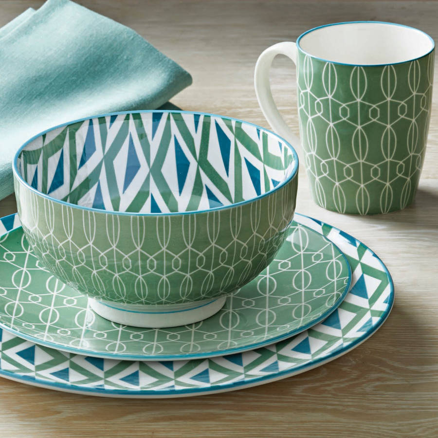 Better Homes and Gardens Piers Green Mix and Match 16 Piece Dinnerware Set & Better Homes and Gardens Piers Green Mix and Match 16 Piece ...