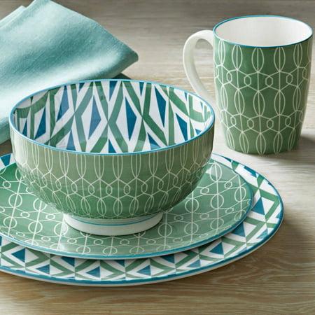 - Better Homes and Gardens Piers Green Mix and Match 16 Piece Dinnerware Set
