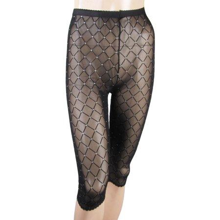 a306f4662c67f Unique Bargains - Women Elastic Waist Black Bling Mesh Rhombus Pattern  Sheer Capri Leggings XS - Walmart.com