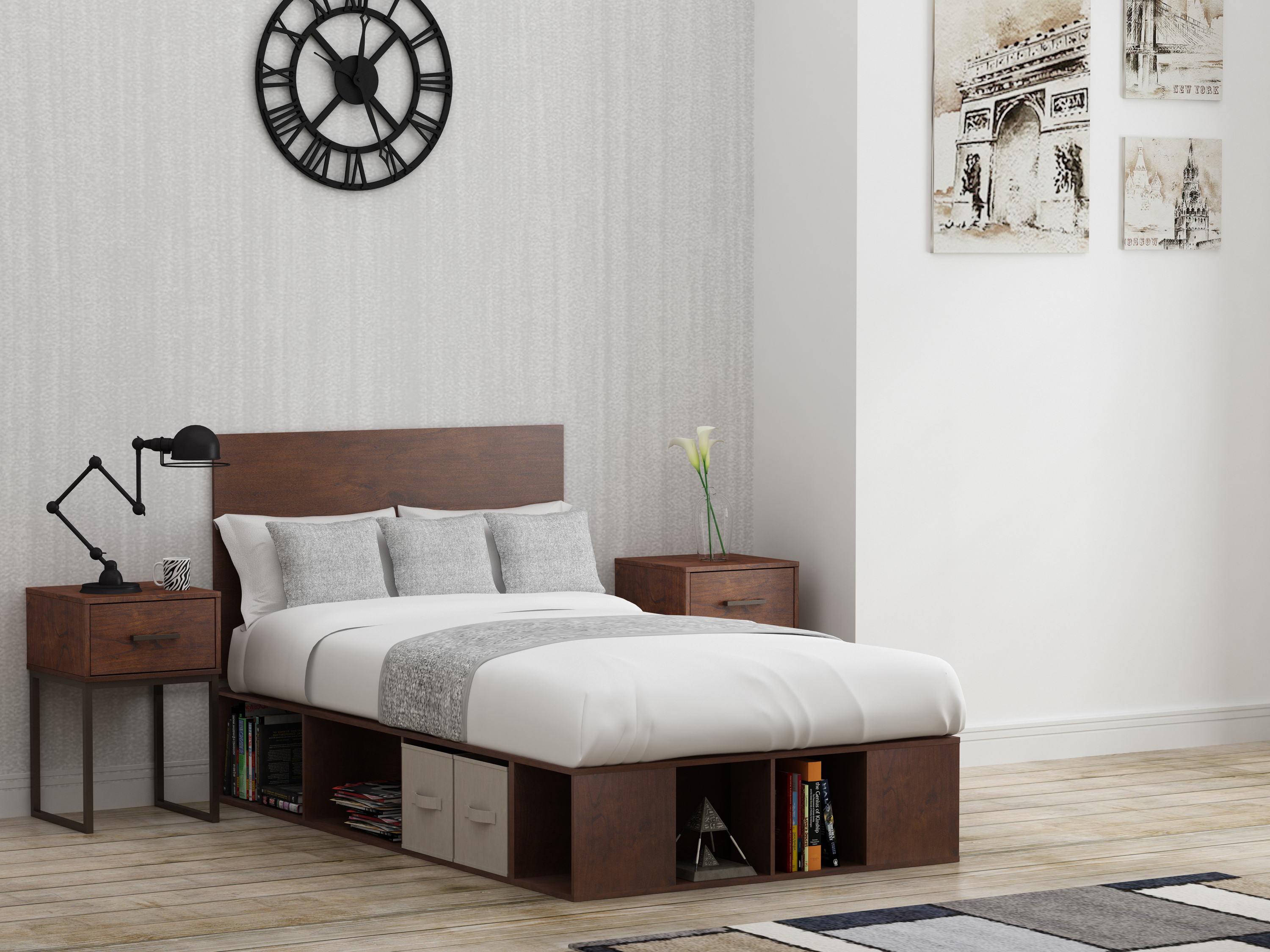 save off 4d224 8dc19 Mainstays Metal and Wood Twin Platform Bed in Reclaimed Cherry finish
