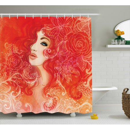 Girls Shower Curtain, Woman Face with Floral Ornamentals in Hair Glamour Watercolor Modern Artwork, Fabric Bathroom Set with Hooks, Red Orange Cream, by Ambesonne - Girls In Shower