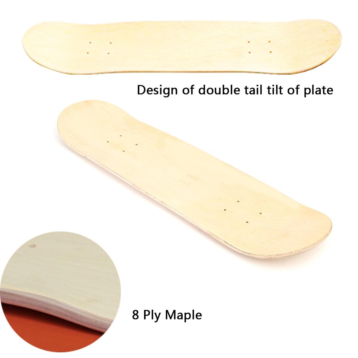 Blank Double Warped Concave Skate Deck Skateboards Deck  Natural Wood DIY Plate