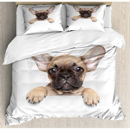 Bulldog King Size Duvet Cover Set, Pedigreed Young Puppy Close-up Photo Best Friend Pet Lover Print, Decorative 3 Piece Bedding Set with 2 Pillow Shams, Sand Brown Black and White, by