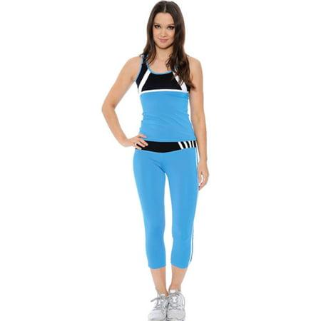 Simplicity Women's Sportswear Yoga Gym Fitness Outfit Set, 7350_Blue L